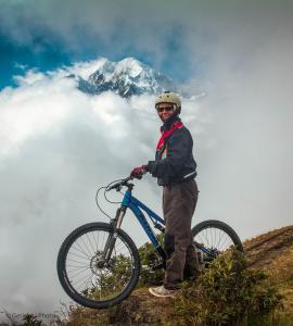 Hanlie ready for a day's downhill biking, Bolivia